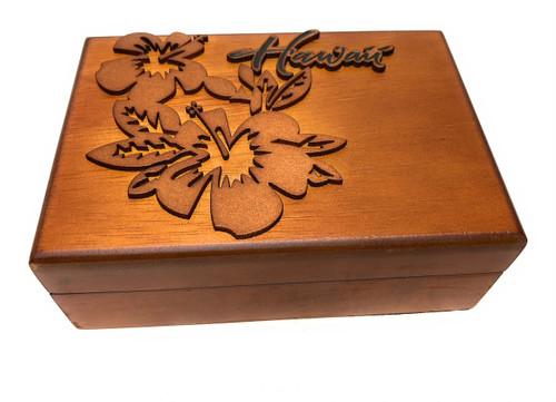 Wooden Jewelry Keepsake Box w/ Hibiscus Design   #R5275