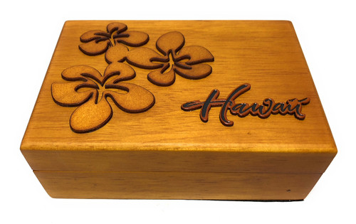 Wooden Jewelry Keepsake Box w/ Plumeria Design | #R5276