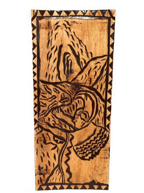 "The Lava Flow Wood Panel 30"" X 12"" King Kamehameha - Polynesian Wall Art | #dpt5054"