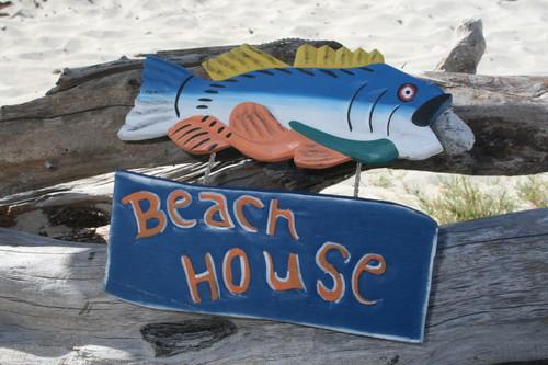 """""""BEACH HOUSE"""" BEACH/COTTAGE SIGN 15"""" - NAUTICAL DECOR"""