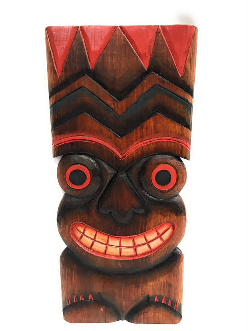 "Happiness Tiki Mask 20""X9"" - Wall Plaque Hand Carved 