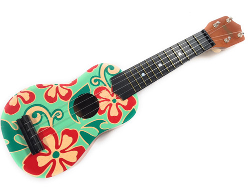 Ukulele - Green and Red Hibiscus Floral Print 18"