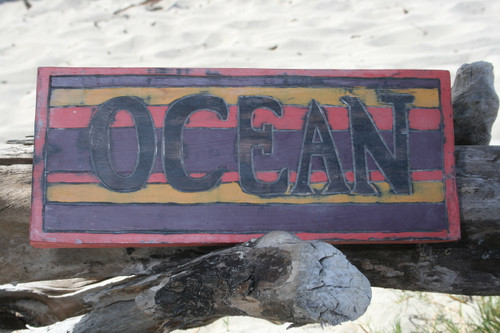 """OCEAN"" WEATHERED SURFCITY SIGN 14"" - BEACH COTTAGE DECOR"