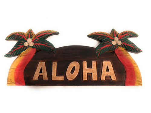 "Aloha Sign w/ Palm Trees 14"" - Tropical Decor 