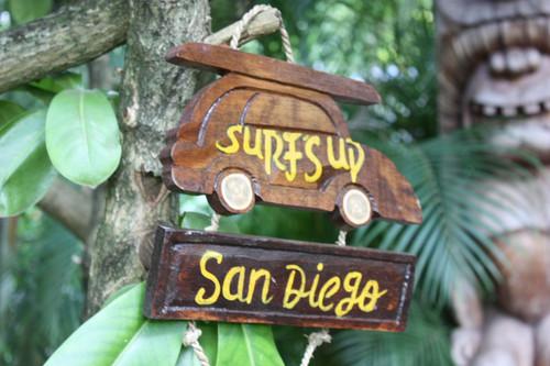 """SURF'S UP, SAN DIEGO"" WOODY CAR SIGN 10"" - TIKI BAR"