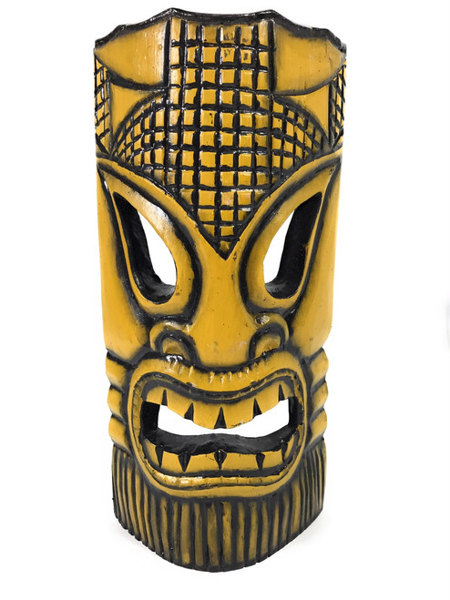 "Tropical Tiki Mask 12"" - Burnt Finish - Faux Bamboo 