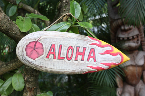"Aloha Wooden Surf Sign 20"" Wall Art - Rustic Finish 