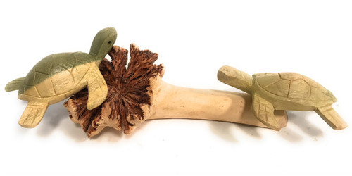 "Sea Turtles w/ Driftwood Base 9""W X 4""D - Carved 
