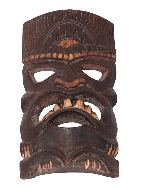 """Prosperity Tiki Mask 8"""" - Hand Carved/Painted 
