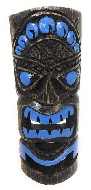 "Ocean Blue Tiki Mask 12"" - Carved/Painted 