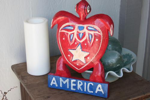 """Wooden Turtle """"America"""" 12 inch - Americana Decor"""