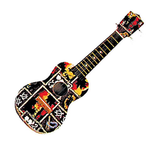 "WOOD UKULELE RED TAPA PRINT- 18"" - TROPICAL DECOR"