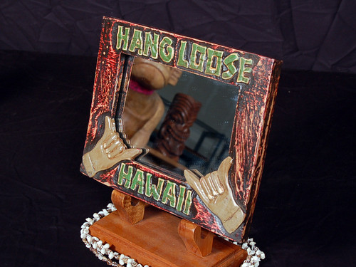 """Hang Loose"" Mirror 8"" X 10"" - Hand Carved/Painted"