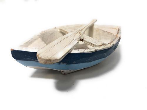 "Decorative Wooden Boat w/ Oar 4"" - Blue Nautical Decor | #ata1800310b"