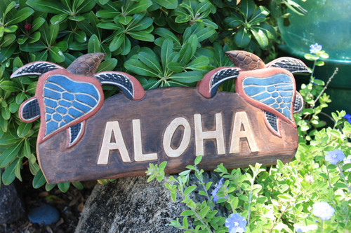 "WELCOME SIGN ""ALOHA "" W/ TURTLES - HAWAIIAN DECOR"
