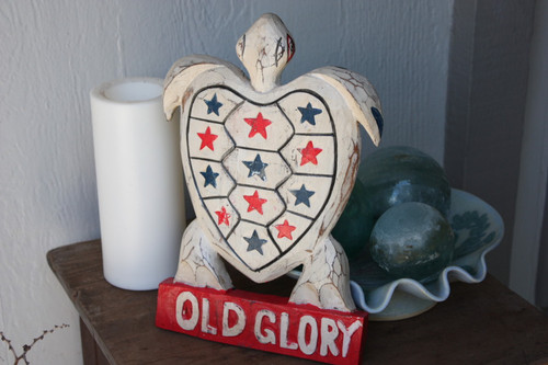 "Wooden Turtle ""Old Glory"" 12 inch - Americana Decor"