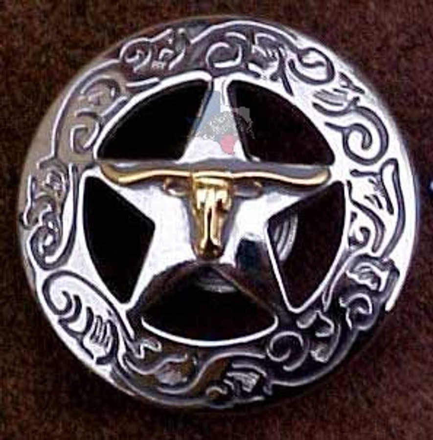 Longhorn On Star With Engraved Border Conchos