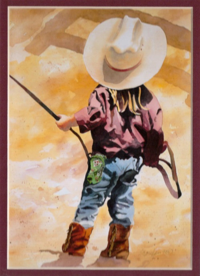 ART-LL-00001  Western Little Cowgirl Children Print