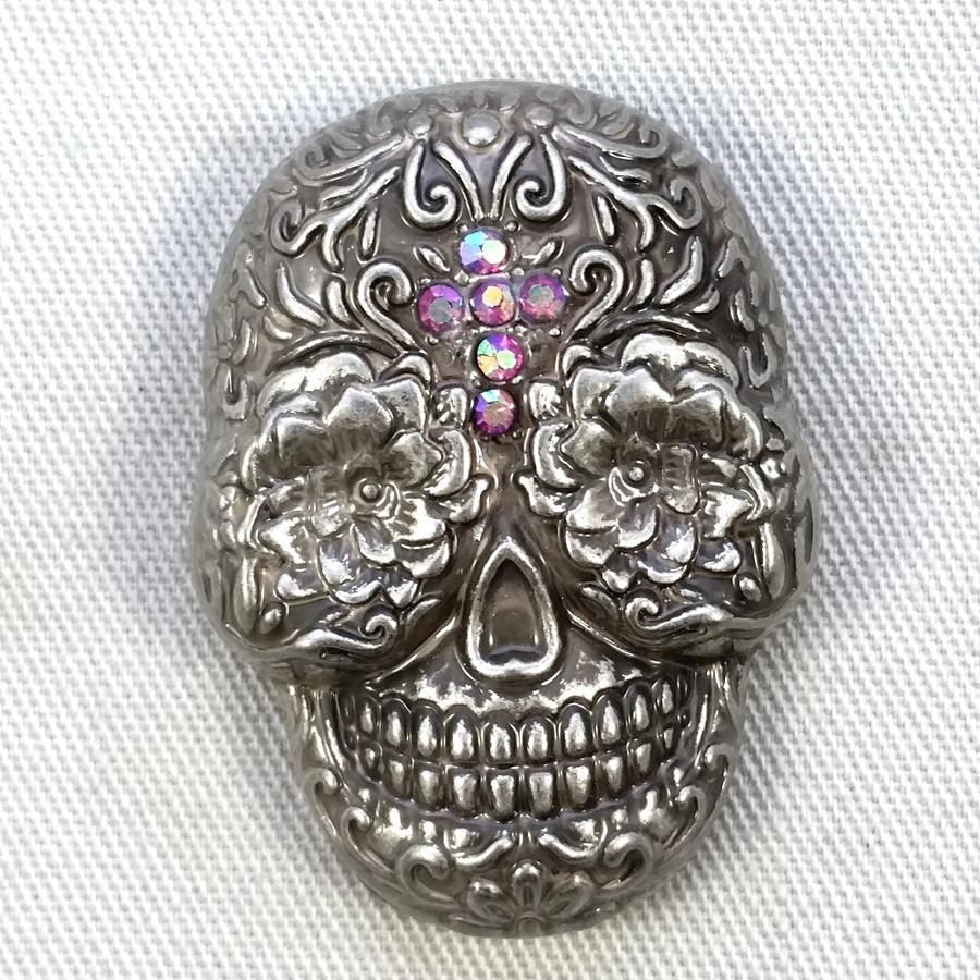 Motorcycle Concho Sugar Skull Fuschia Crystal Cross
