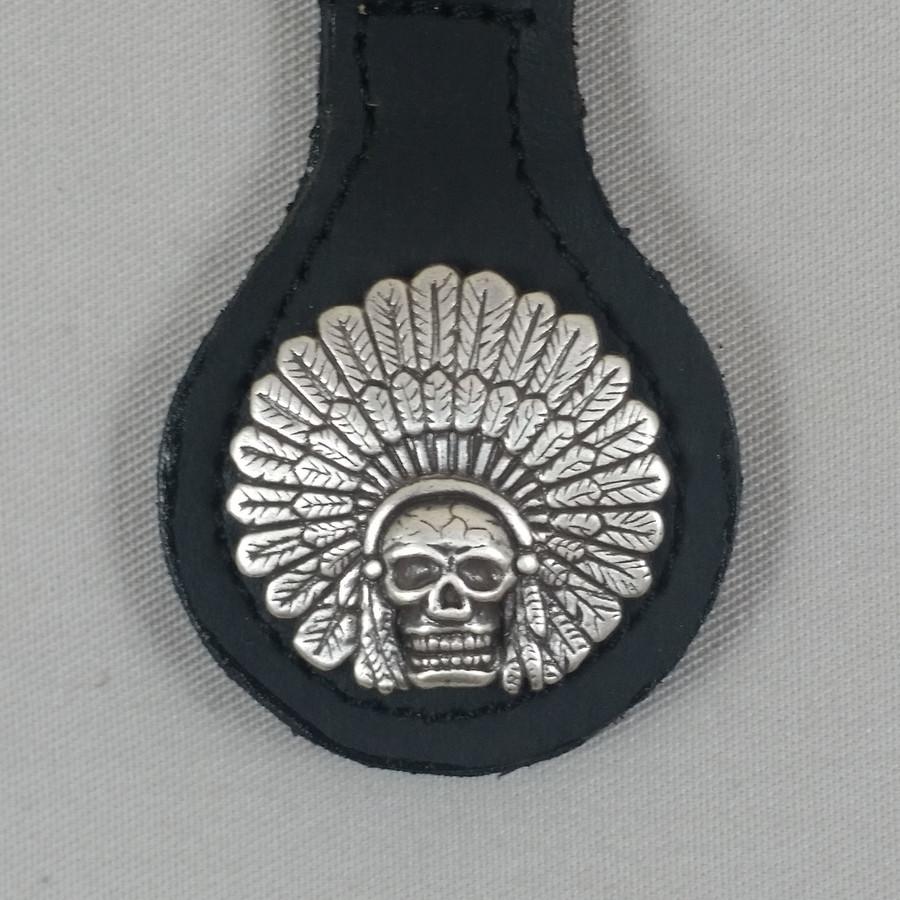 Motorcycle Biker Key Fob Indian Chief Headdress & Skull Black Leather