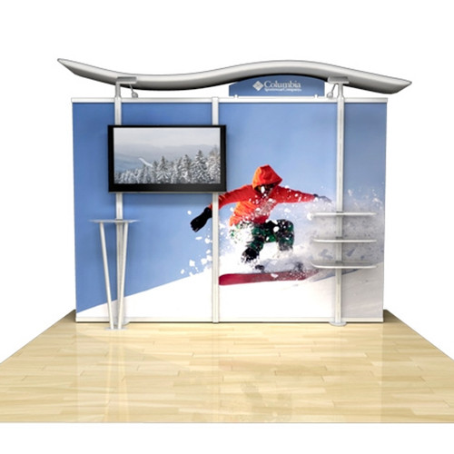 """10ft Timberline Monitor Display with Straight Fabric Sides, Holds up to 50"""" Monitor"""