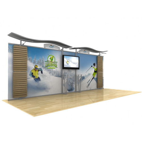 20ft Timberline Monitor Display Straight Fabric Sides and Slat Walls (TL1002F-S20-TV-SW)