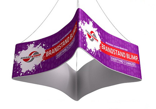 Blimp Square Curved Hanging Signs - Quad