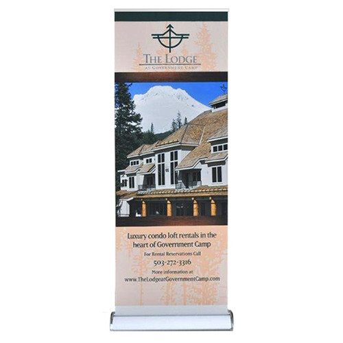 "33.5"" Tall Retractable Banner Stand 33.5"" X 96"" with Vinyl Graphic"