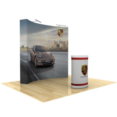 8ft Star Fabric Pop-Up Display Curved with End Caps