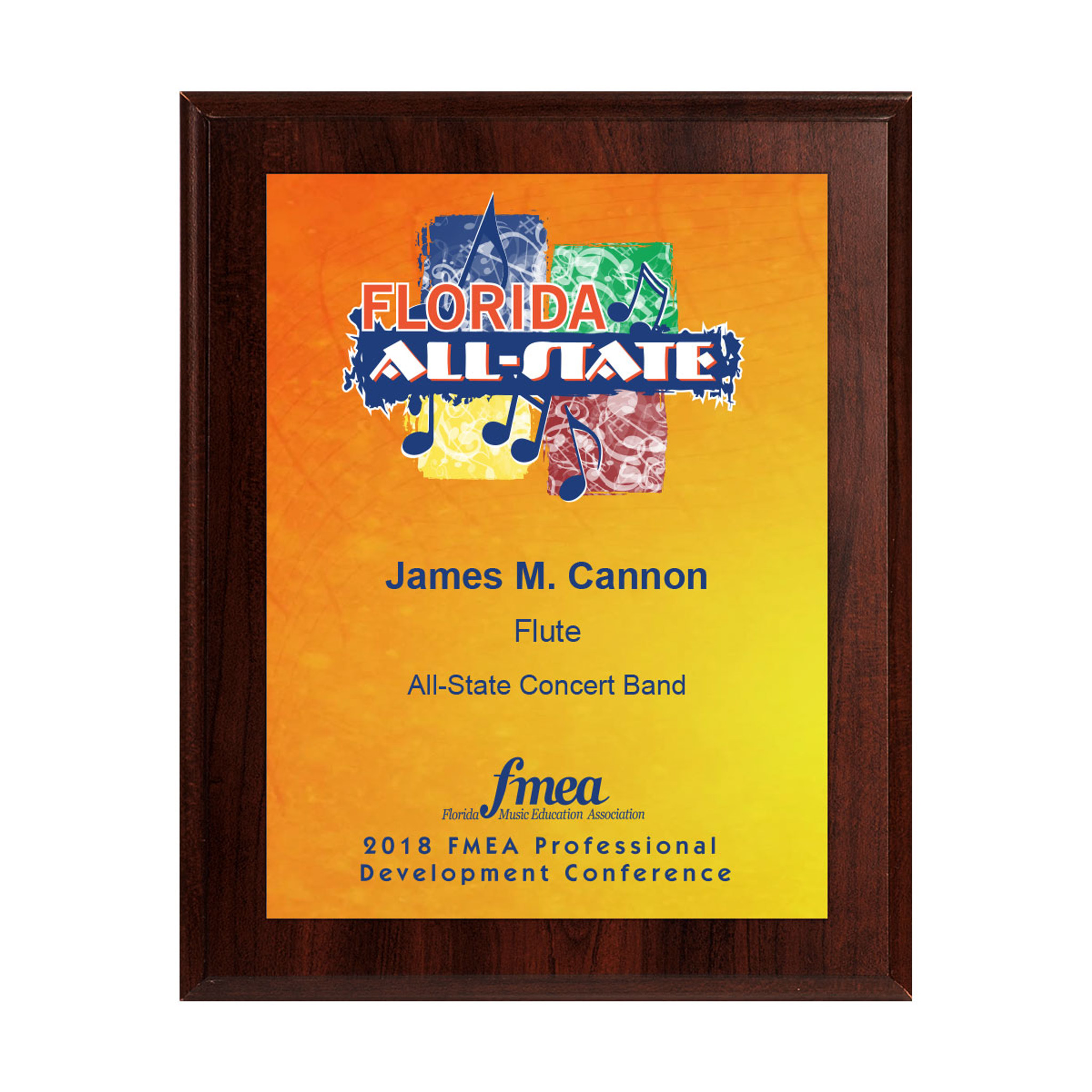 2018 FMEA All-State 8x10 Event Plaque