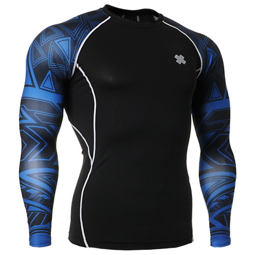 Compression skin tight spandex printing base layer black S~4XL