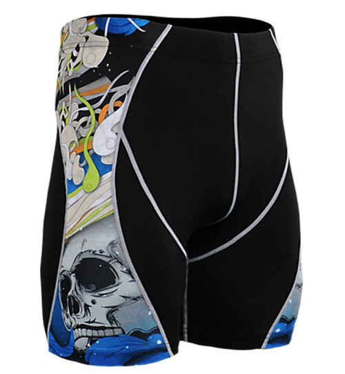 Fixgear skin skull printed base layer running tight black shorts