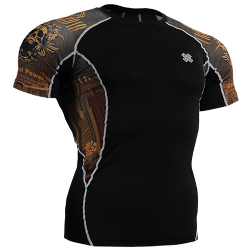 Fixgear skull Graphic running tight black base layer short sleeve