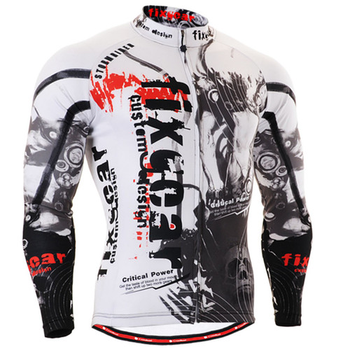 Fixgear cycling biking jersey printed black white shirts for men