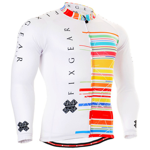 Fixgear cycling biking jersey printed white shirts for men