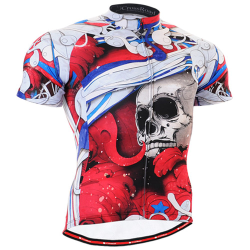 Fixgear cycling biking jersey skull printed red shirts for men