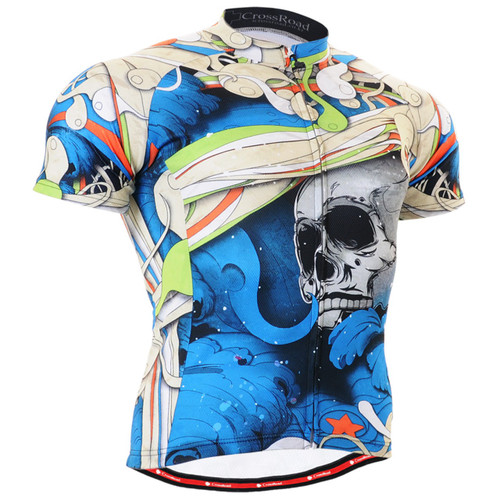 Fixgear cycling biking jersey skull printed blue shirts for men