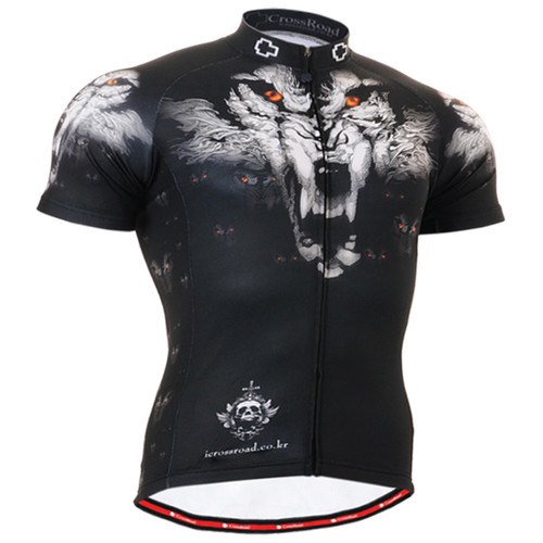 fixgear cyclist jersey wolf printed shirt