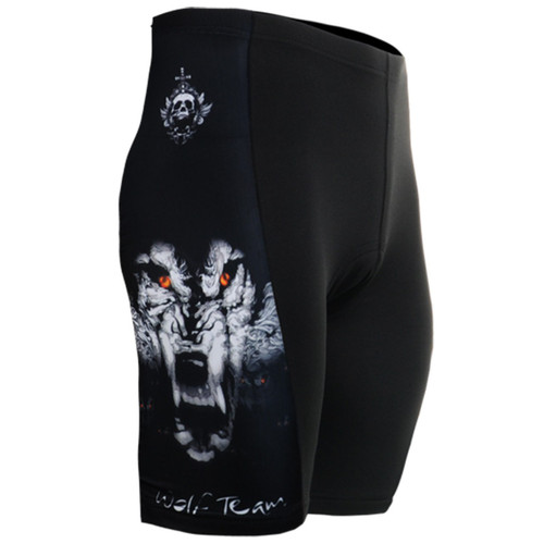 fixgear cycling bike tight padded wolf printed black shorts