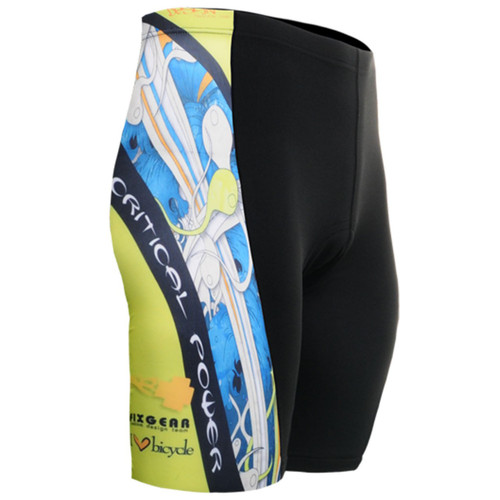 fixgear cycling bike tight padded blue printed black shorts