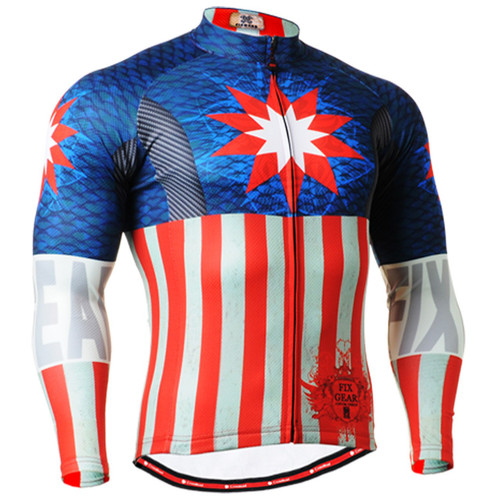 Fixgear print design biking Jersey blue red shirts