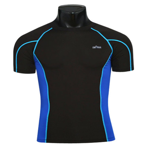 skin tight compression base layer black-Blue tee shirt emfraa