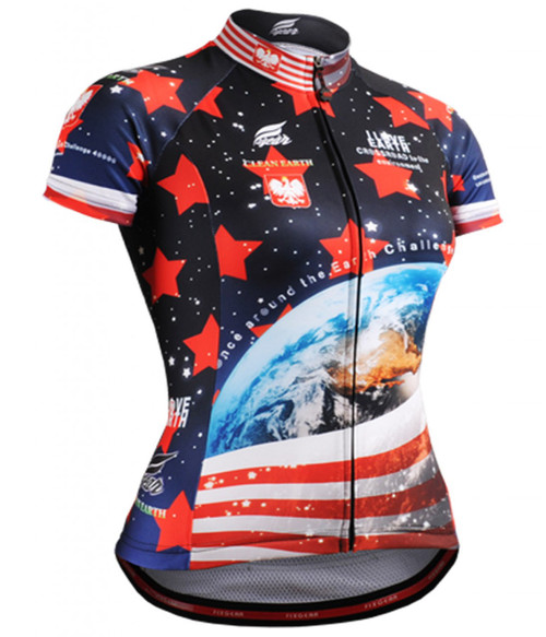 Fixgear earth printed women's cycling jersey