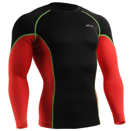 emfraa skin tight under baselayer shirt black-red