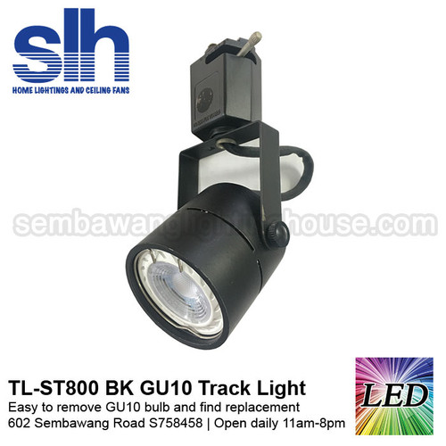 Shop for led track light in singapore tl st800 black 6w gu10 led track light removable aloadofball Image collections
