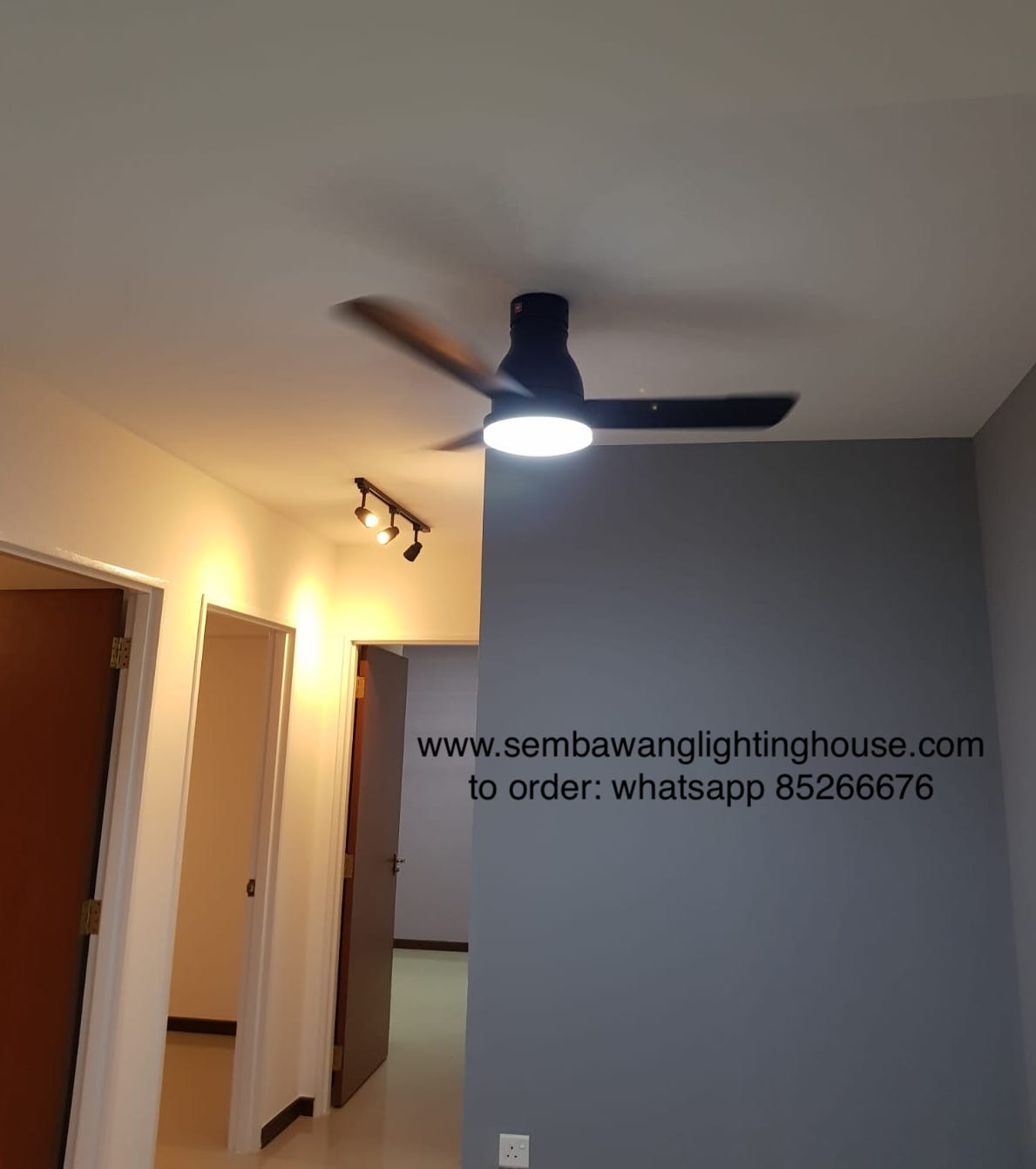 KDK U48FP Black Ceiling Fan Sample at Dining Room | Sembawang Lighting House