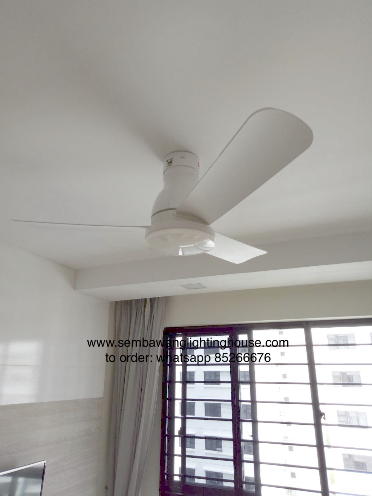 KDK U48FP white ceiling fan in bedroom | Sembawang Lighting House