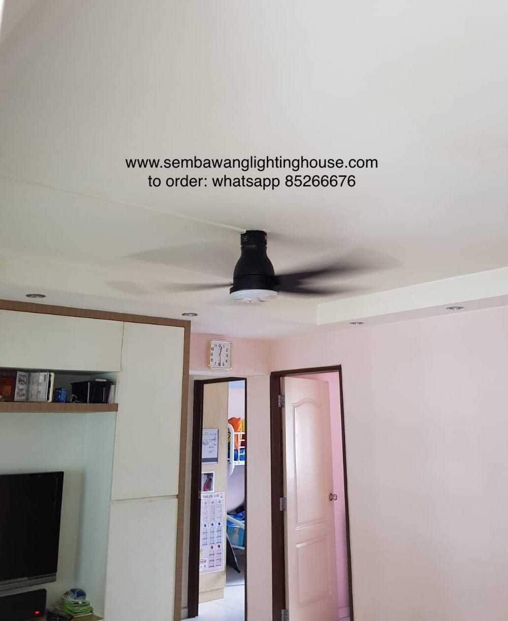 KDK U60FW Ceiling Fan Black in 4 Room HDB