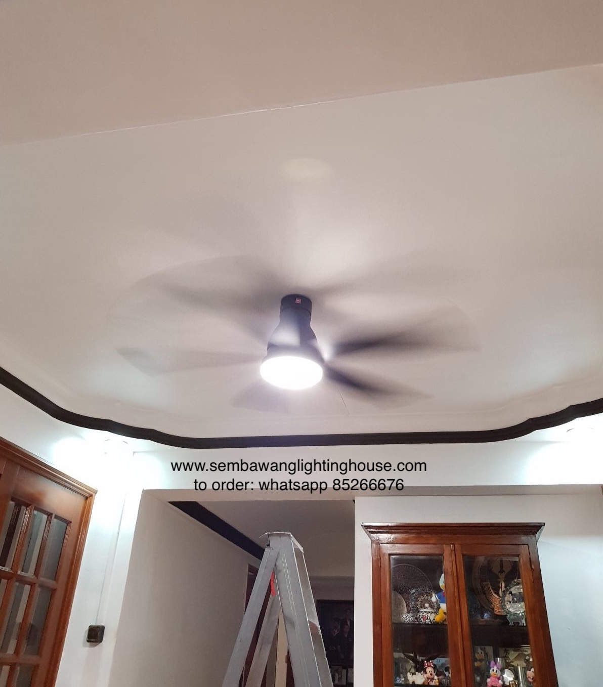 KDK U60FW Ceiling Fan Black Sample at Living Room
