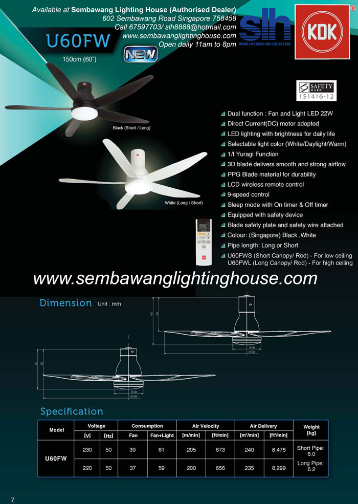 Buy Kdk U60fw 60 Quot Dc Ceiling Fan With Led White